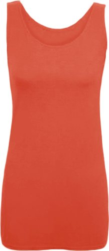 New Ladies Long Stretch Vest Womens Plain Scoop