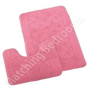 New 2 Piece Chenille Bath & Pedestal Mat Set Light Pink