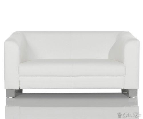 Sofa Carlo 160x75 cm Weiss verchromtes Metall 2-Sitzer