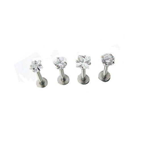 Magicmoon 4 x 16g Chirurgico Gem in acciaio trago Labbro Anello Monroe Orecchio Cartilagine Perno Orecchino Piercing