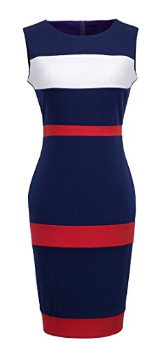 HOMEYEE-Womens-Voguish-Colorblock-Stripe-Pencil-Dress-B275