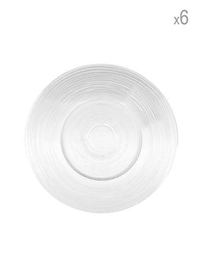 Arda Glassware Set 6 Piatto Vetro Circle Fondo 26 Cm Bianco