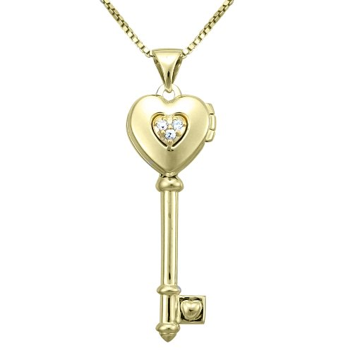 10k Gold Plated Sterling Silver Cubic Zirconia Heart Key Pendant Necklace