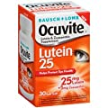 Bausch & Lomb Ocuvite Lutein 25 Milligram Lutein & Zeaxanthin Supplement Soft Gels, 30 Count