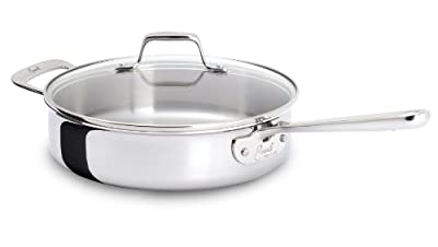 Emeril by All-Clad E9833764 PRO-CLAD Tri-Ply Stainless Steel Dishwasher Safe Saute Pan Cookware, 4-Quart, Silver