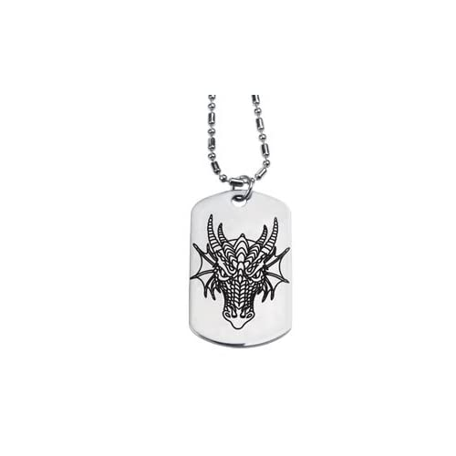 Dragon Head Dog Tag   Collectible Medallion Necklace Accessory Jewelry