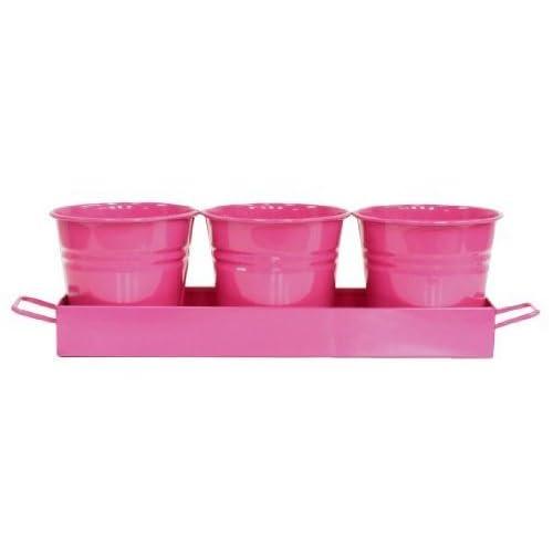Houston International 7400-4E HPK Set Of Three Small Steel Planters With Tray, Hot Pink