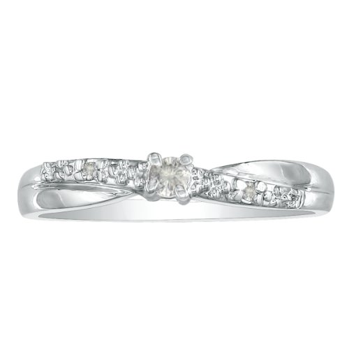 10K White Gold Diamond Promise Ring, Crossover Band, Available Ring Sizes 4-10, Ring Size 6.5