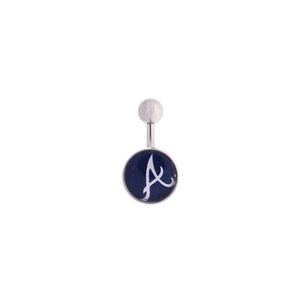 Atlanta Braves 316L Stainless Steel Belly Ring   14G   3/8 Inch Bar Length   Sold Individually