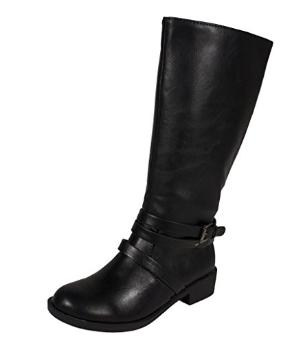 Soda Kid'S Girly Adris-2 Equestrian Mid-Calf Riding Boots With Side Zipper, Black Leatherette, 13 Lk