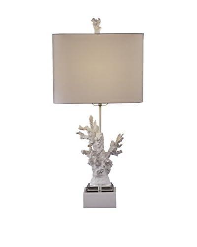 Bassett Mirror Co. White Coral 1-Light Table Lamp, High Gloss White