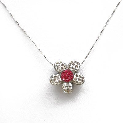 Beautiful White Gold Plated Crystal Flower Necklace Pink Center Children or Adult 18