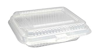"Choice-Pac L1P-10H3 Polyethylene Terephthalate Flat Top Rectangular Clamshell Container, 4-7/8"" Length x 4-1/4"" Width x 1-1/8"" Height, Clear (Case of 500)"