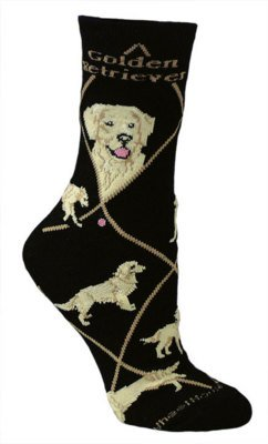 Golden Retriever Dog Black Cotton Ladies Socks Black 9-11