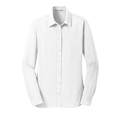 Port Authority Ladies Dimension Knit Dress Shirt>S White L570 L/S Dress