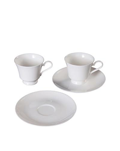 Fortessa Bone China Tea Cup And Saucer Set, White
