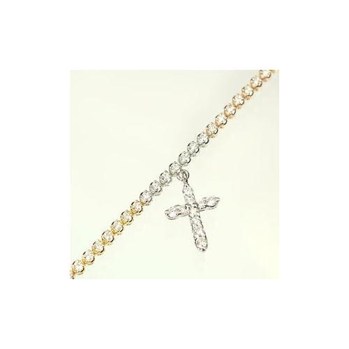[キュートジュエリー]Cute jewerly K18PG K18WG K18YG ダイヤ1.0ct 3カラークロス付ブレスレット