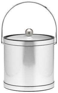 Kraftware Mylar Brushed Chrome 3-Quart Ice Bucket With Chrome Bale Handle, Bands And Metal Cover
