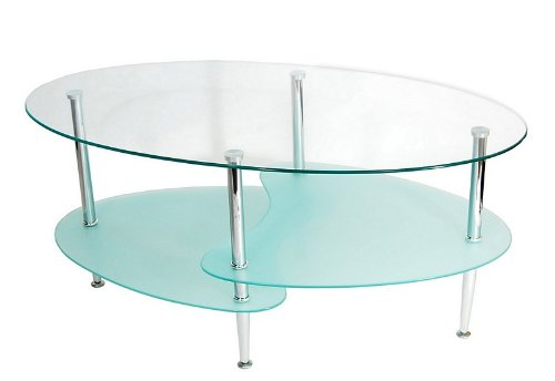 Walker Edison Glass Oval Wave Coffee Table with Split bottom