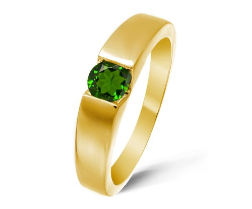 Modern 9 ct Gold Ladies Solitaire Engagement Ring with Chrome Diopside 0.40 Carat