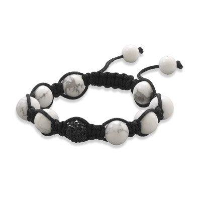 Multicolor Crystal Bead Black Macrame Bracelet Adjustable