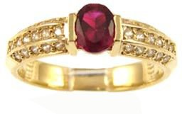14k Yellow Gold, Simple Classic Design Ring with Lab Created Oval Shape Red Colored Stone