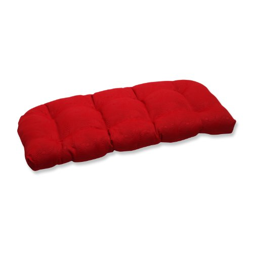 Pillow Perfect Wicker Loveseat Cushion with Bella-Dura Mandeyia Red Fabric image
