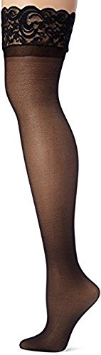 Dopeme Women's Plus Size Sheer Thigh High Socks with Silicone Lace Top Black