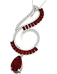 His & Her Diamonds .925 Sterling Silver, Diamond And Ruby Pendant