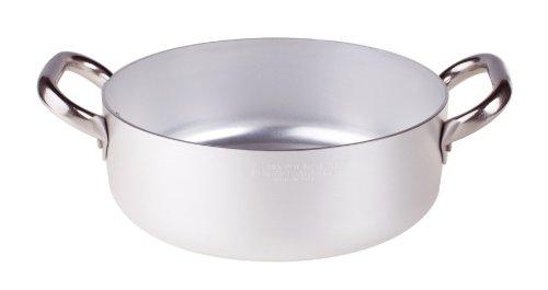 Pentole Agnelli Casseruola Bassa in Alluminio, con 2 Manici in Acciaio Inossidabile, Argento, 4.1 Litri