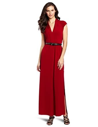 Kenneth Cole New York Women's Knit Maxi Dress With Belt, Holly Red, Medium