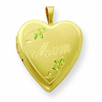 Gold Plated Sterling Silver 20mm Satin, Enameled, D/C Mom Locket