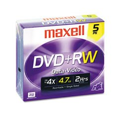 Maxell DVD+RW Rewritable Media With Jewel Cases, 4.7GB/120 M