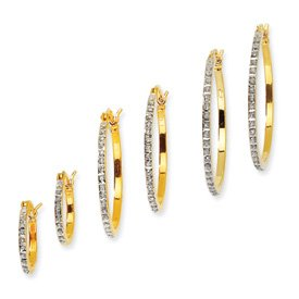 Sterling Silver and Gold-plated Dia. Mystique Round Hinged Hoop Earrings Set - JewelryWeb