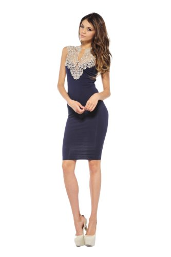 Ax Paris Women'S Crochet Neck Midi Navy Dress(Blue, Size:4)
