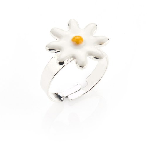 Pretty Daisy Ring - Childrens Adjustable Ring - Matching necklace and earrings available - will arrive in gift bag
