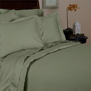 3pc Egyptian Duvet Cover Set 1200 Thread Count Queen Size Sage (Green)