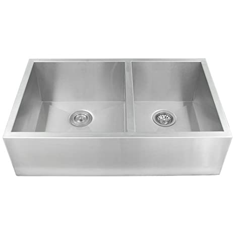 "Phoenix PH-4444 Zero Radius 33"" Apron Farmhouse Double-Bowl Flat Front 16-Gauge Stainless Steel Kitchen Sink"