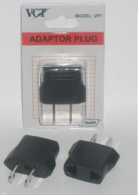 Vct Vp7 Adapter Plug For Usa - High Quality Plug Converts Europe / German /Asian Round Pin Plugs To American Plug - Rohs Compliant
