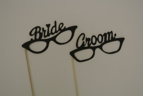 2 Pc Bride and Groom Photo Booth Party Props Material Glitter Foamy