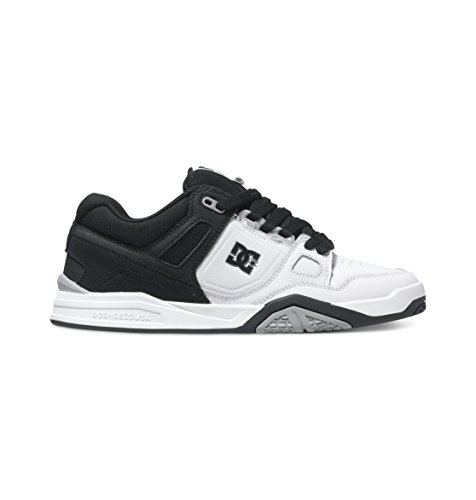 DC Men's Stag 2 Skate Shoe, White/Black/Armor, 8 M US