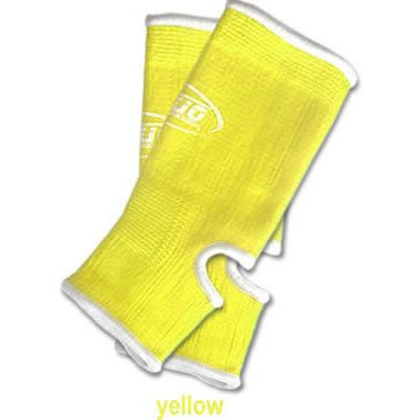S NEON YELLOW DUO Muay Thai Kickboxing MMA Ankle Support Anklets