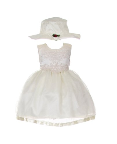 Shanil Ivory Sleeveless Embroidered Flower Girl Dress and Hat 2-pc Set