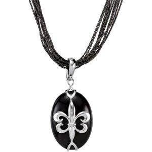 Genuine IceCarats Designer Jewelry Gift Sterling Silver Onyx Pendant Enhancer. 25.00X18.00 Mm Genuine Onyx Pendant Enhancer Onyx Pendant Enhancer In Sterling Silver
