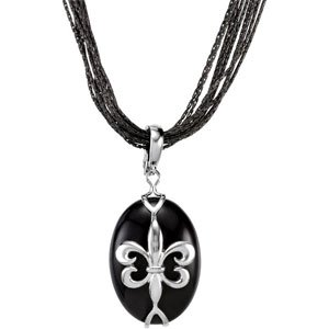 Elegant and Stylish 25.00X18.00 MM Genuine Onyx Pendant Enhancer in Sterling Silver , 100% Satisfaction Guaranteed.