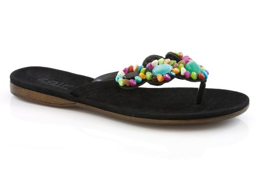 Cheap Unze Women Multicolored Beads Accented Thong Summer, Casual, Day, Beach Party Slipper – 973594-201 (B0043HXM24)