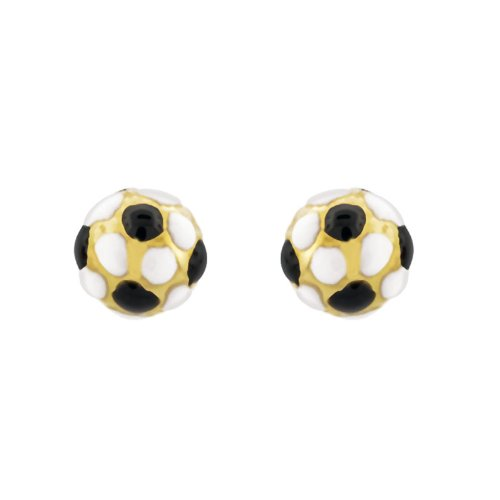 14k Gold Baby Earrings with White and black Enamel
