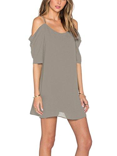 Womens Chiffon Cut Out Cold Shoulder Spaghetti Strap Mini Dress Top, Gray, Medium