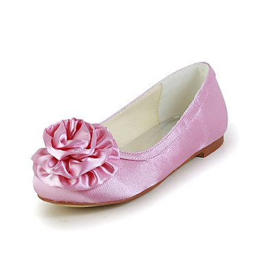 Comfortable Satin Flat Heel Closed-toes Flats with Flower Flower Girls Shoes(More Colors)