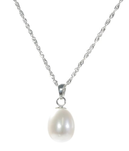 Elegant 925 Sterling Silver high-luster 9.0-11.0mm White Pearl Women Necklace - 17.3 inch
